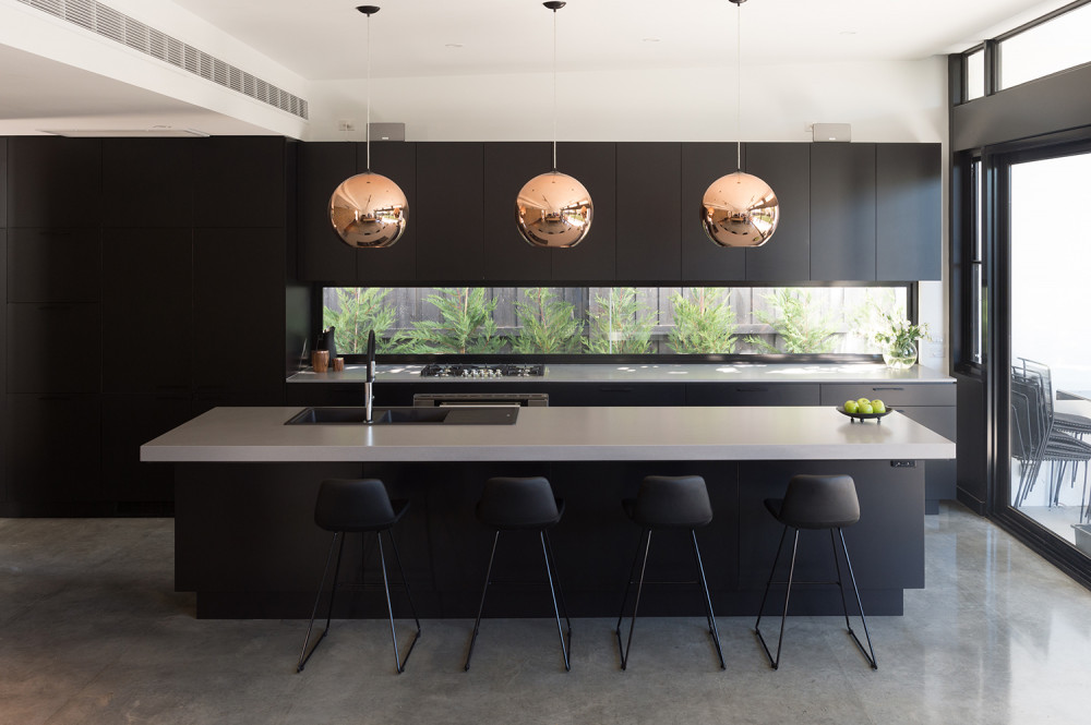 raw concrete caesarstone kitchen